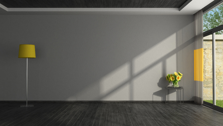 Black and yellow living room without furniture - 3d rendering