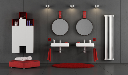 Black and red bathroom with two double washbasin - 3d rendering