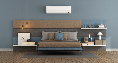 Modern master bedroom with bed headboard in fabric with shelves and air conditioner - 3d rendering