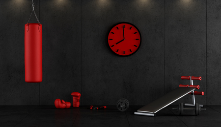 Red and black boxing gym with punching bag,boxing gloves and bench 3d rendering Фото со стока