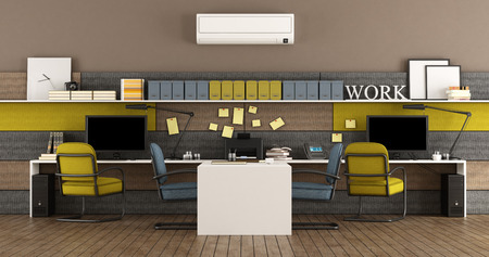 Modern office with two workstations with PC - 3d rendering