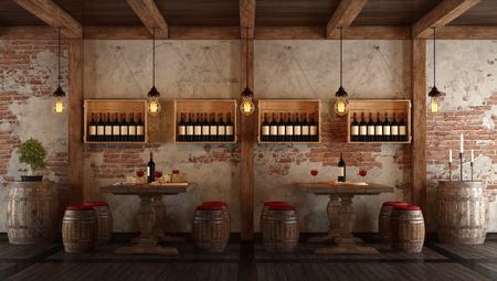 Old wine cellar with table and seats for tasting - 3d rendering Фото со стока