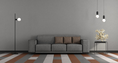 Minimalist living room with gray sofa on colorful floor - 3d rendering