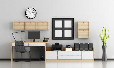 Home office with white and wooden furniture - 3d rendering Фото со стока