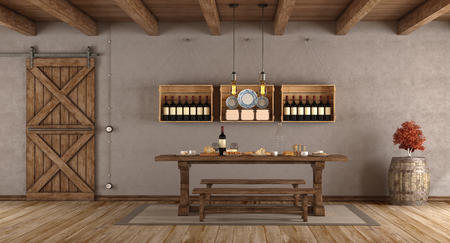 Dining room in rustic style with old table,bench and sliding door - 3d rendering