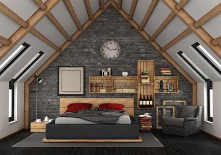Mansard with master bedroom in rustic style - 3d rendering