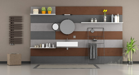 Brown and gray modern bathroom with washbasin - 3d rendering
