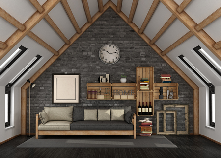 Living room in the mansard with sofa and bookcase in rustic style - 3d rendering Banque d'images