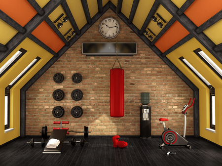 Home gym in the mansard with training equipment - 3d rendering Zdjęcie Seryjne - 100280969