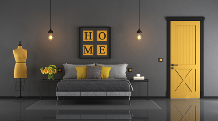 Gray and yellow master bedroom with double bed,closed door and mannequin - 33d rendering Фото со стока
