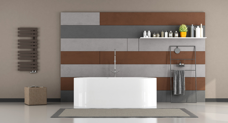 Gray and brown minimalist bathroom with bathtub - 3d rendering