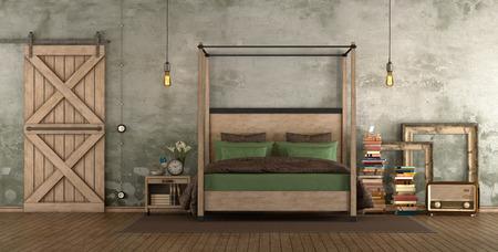 Retro master bedroom with wooden bed and sliding door - 3d rendering Фото со стока
