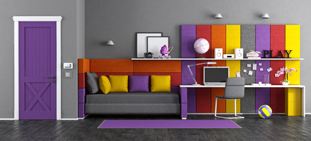 Colorful teen bedroom with fabric bed,desk and closed door - 3d rendering Фото со стока