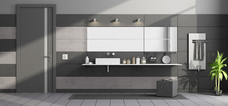 Black and gray modern bathroom with washbasin on shelf and closed door - 3d rendering
