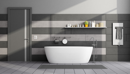 Black and gray modern bathroom with bathtub and closed door - 3d rendering Фото со стока