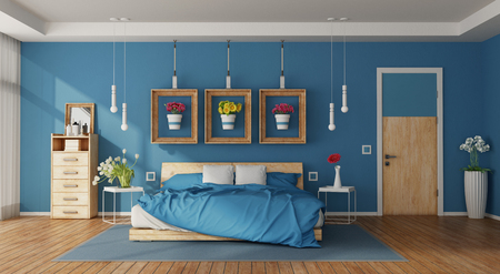 Modern blue master bedroom with double bed,drawers and colorful flowers - 3d rendering Фото со стока