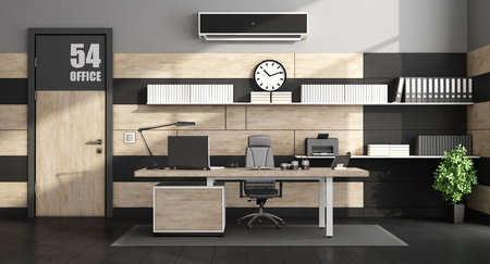 Office interior with minimalist furniture and closed door - 3d rendering