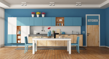 White and blue modern kitchen with dining table and closed door - 3d rendering Фото со стока