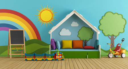 Colorful playroom with bed, blackboard and toys - 3d rendering Фото со стока