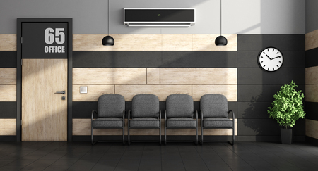 Minimalist waiting room with black chairs and closed door - 3d rendering Фото со стока