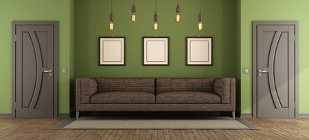 Modern green and brown living room with fabric sofa and two closed doors - 3d rendering