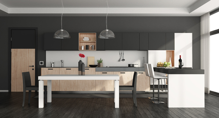 Black and white modern kitchen with island and dining table - 3d rendering