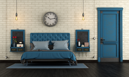 Blue retro master bedroom with classic double bad and closed old door - 3d rendering Фото со стока