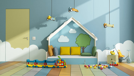 Colorful playroom with bed , toys and closed door