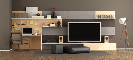 Modern living room with tv set and little workstation with laptop - 3d rendering
