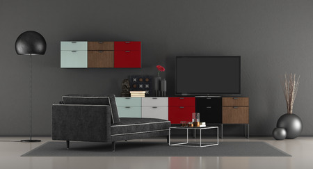 Modern living room with black chaise lounge and tv on colorful sideboard - 3d rendering