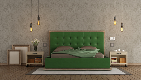 Master bedroom with green double bed and nightstand against stucco wall - 3d rendering Фото со стока