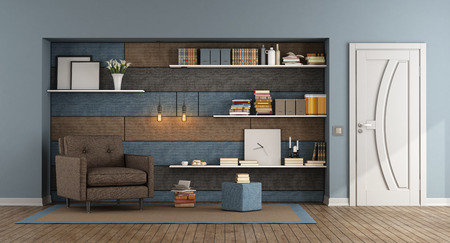 Blue and brown living room with armchair and fabric paneling