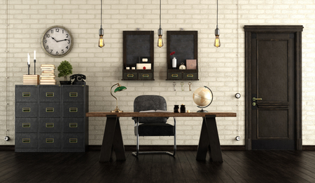 Home office in retro style with wooden desk, black cabinet and old door - 3d rendering