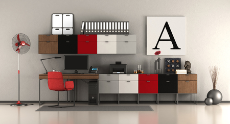 Modern home office with desk and sideboard - 3d rendering Фото со стока