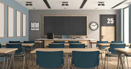 Blue and gary modern classroom without students - 3d rendering