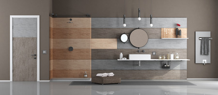 Modern bathroom with washbasin and shower against wooden paneling - 3d rendering