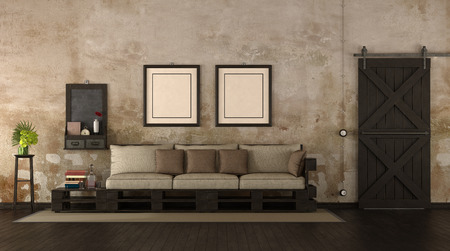 Retro living room with pallet sofa and old wooden door - 3d rendering Фото со стока
