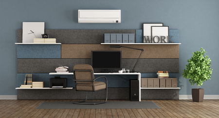 Blue and brown modern office with fabric paneling with shelves and desk - 3d rendering Stock Photo