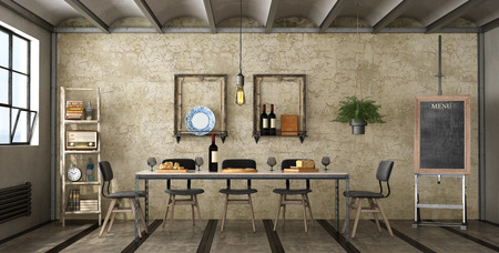 Dining room in a loft with iron table. ladder and easel with blackboard - 3d rendering Фото со стока
