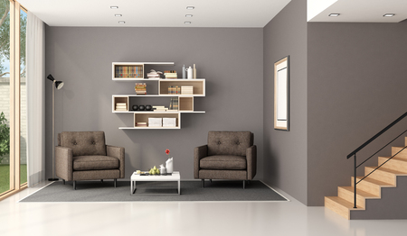 Modern living room wuth two armchairs,bookcase and wooden stair - 3d rendering