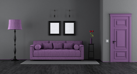Elegant black and purple living room with classic sofa,floor lamp and closed door - 3d rendering Фото со стока