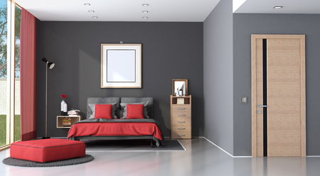 Modern master bedroom with double bed, chest of drawer and closed door - 3d rendering