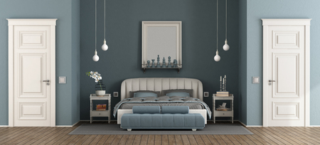 Elegant blue master bedroom with leather bed and two closed door - 3d rendering