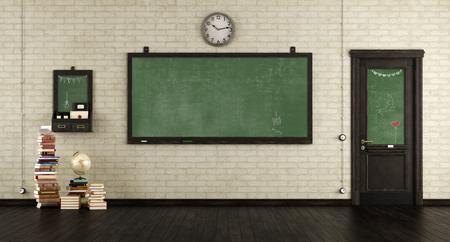 Empty retro classroom with blackboards.wooden door and books on hardwood floor - 3d rendering Фото со стока