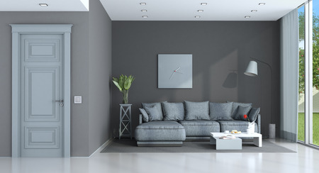 Purple and gray living room with classic sofa and closed door - 3d rendering