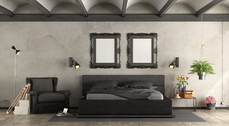 Black master bederoom with wooden double bed and leather armchair - 3d rendering