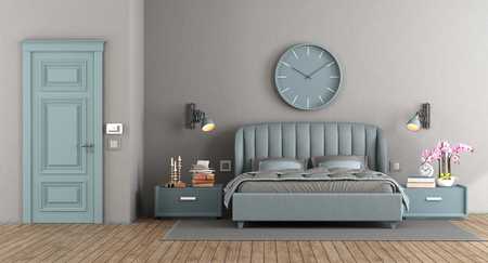 Elegant master bedroom with blue bedroom and closed door - 3d rendering Фото со стока