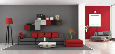 Red and gray modern living room with sofa and chaise lounge on background - 3d rendering Фото со стока