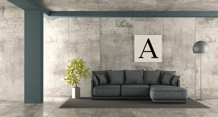 Blue fabric sofa in concrete room - 3d rendering