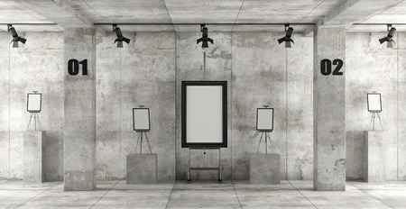 Contemporary art gallery in a concrete room with easels and blank frame - 3d rendering